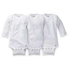 image of Gerber ONESIES® Brand 3-Pack Long Sleeve Bodysuits in White