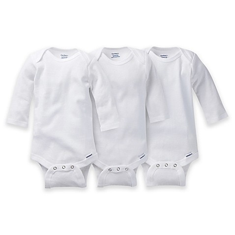 Gerber ONESIES® Brand Newborn 3-Pack Long Sleeve Bodysuits in White