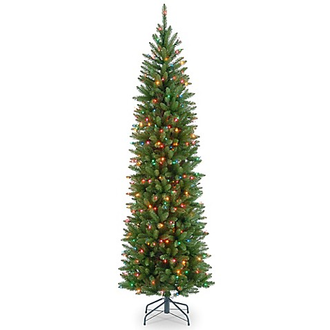 national tree kingswood fir hinged pre lit pencil christmas tree with multicolored lights