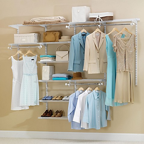 Rubbermaidu0026reg; 4 Foot To 8 Foot Deluxe Closet Organizer Kit In White