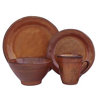image of Sango Cyprus 16-Piece Dinnerware Set in Sienna  sc 1 st  Bed Bath \u0026 Beyond & Dinnerware Sets: Stoneware Square Dinnerware and more - Bed Bath ...