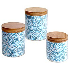 Image Of Certified International Chelsea Aqua Swirl 3 Piece Canister Set