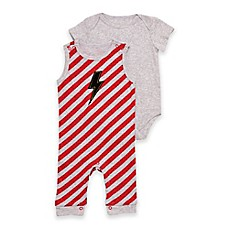image of Baby Starters® 2-Piece Lightning Bolt Stripe Overall and Bodysuit Set in Red/Grey