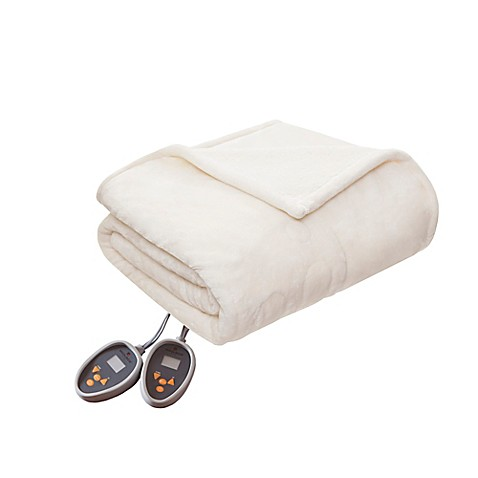 Woolrich Heated Plush to Berber King Blanket in Ivory