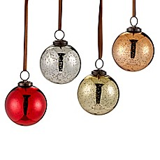 image of mercury glass ornaments set of 6