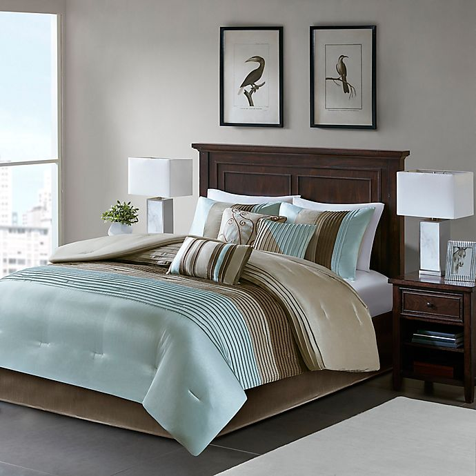 Madison Park Amherst 7 Piece California King Comforter Set In Blue Bed Bath Beyond
