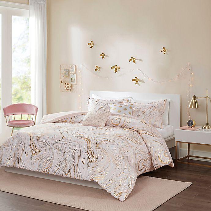 Intelligent Design Rebecca Metallic Printed Comforter Set In Blush Gold Bed Bath Beyond