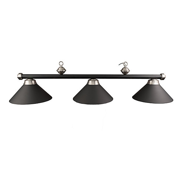 Black/Stainless Metal Shade Pool Table Light