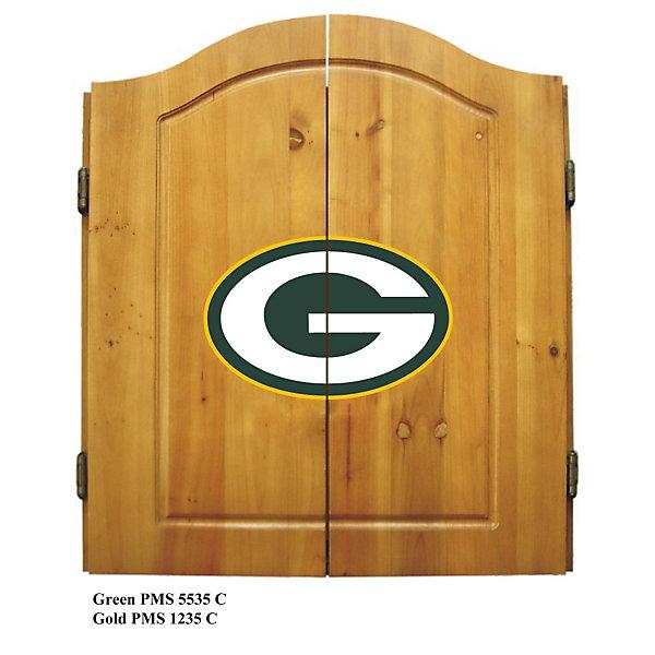 Green Bay Packers Dart Cabinet Set W Darts And Flights