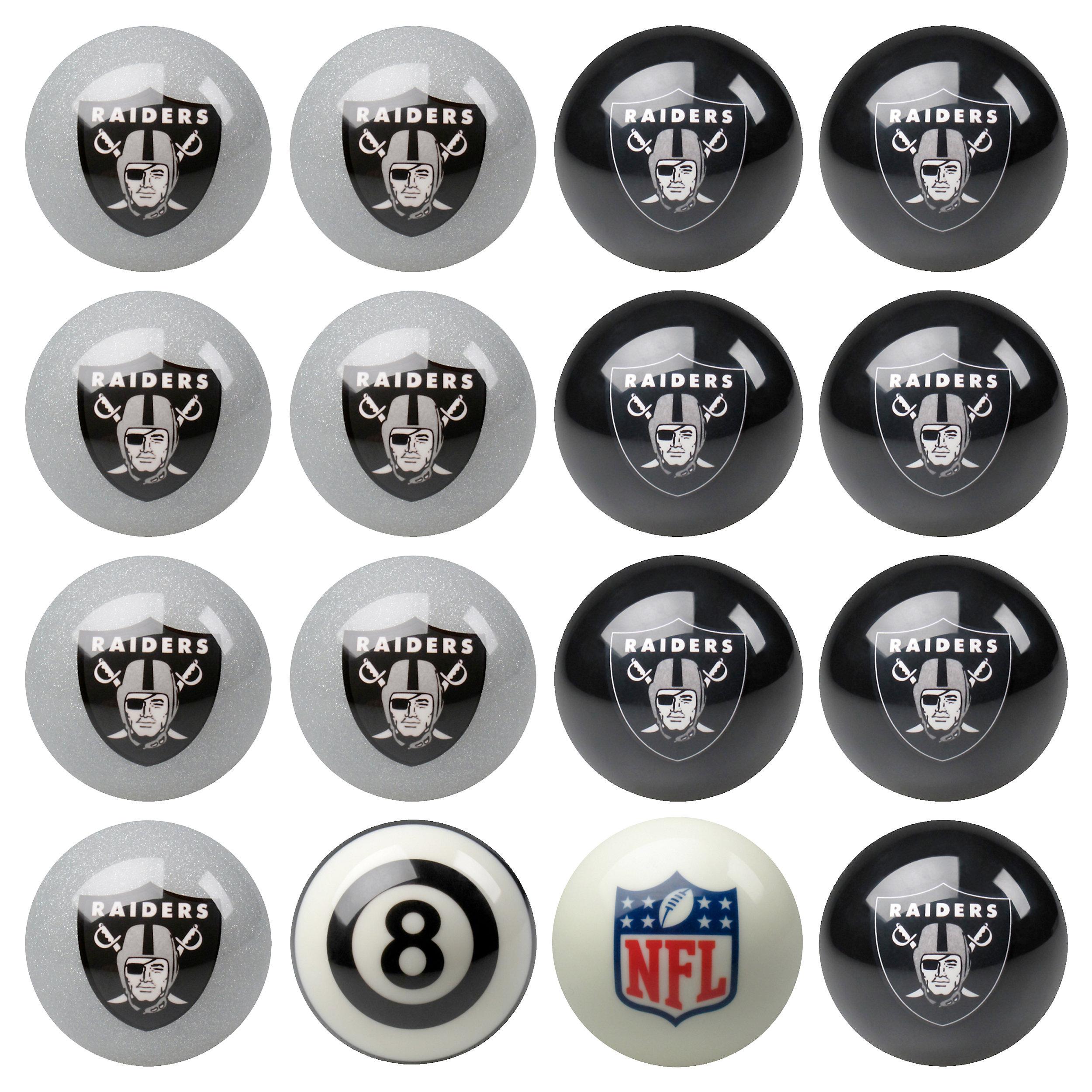 Oakland Raiders Pool Ball Set Novelty Nfl Billiard Balls