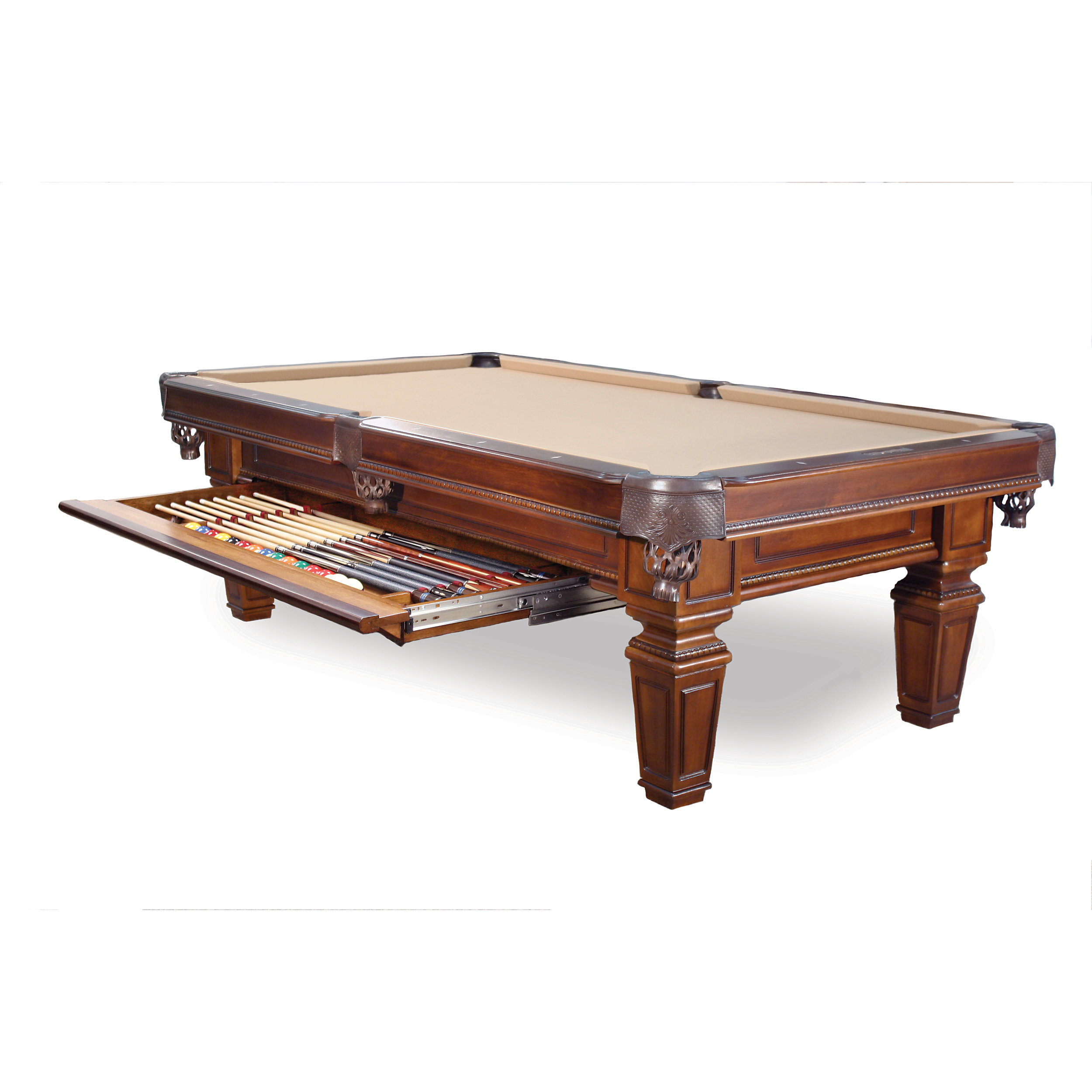 Belfast Classic Wood Pool Table Pool Table With Storage Drawer - Mid century modern pool table