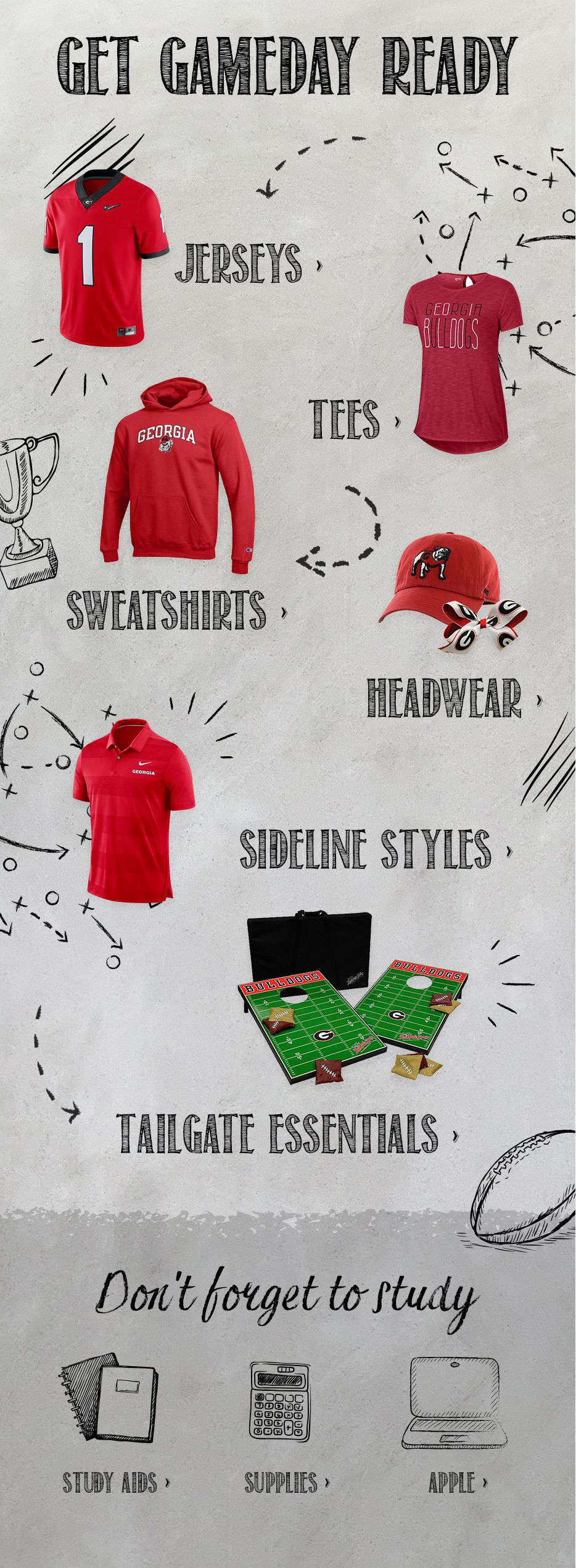 Georgia bulldogs apparel uga gear merchandise gifts get gameday ready fandeluxe Choice Image