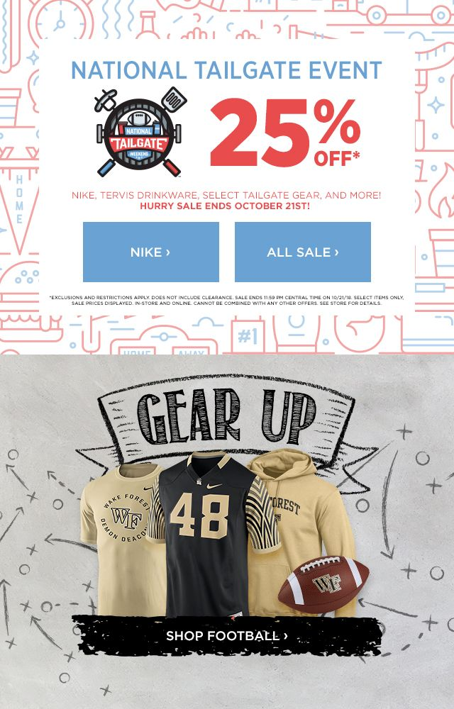 National Tailgate Event 25% off Nike, Tervis Drinkware, Select Tailgate Gear & More!