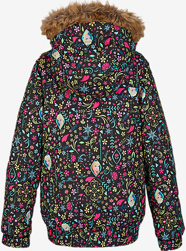 Disney Frozen Girl's Twist Bomber Jacket shown in Elsa / Anna Frozen Print © Disney