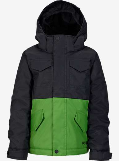 Burton Boys' Minishred Fray Jacket shown in True Black / Slime [bluesign® Approved]