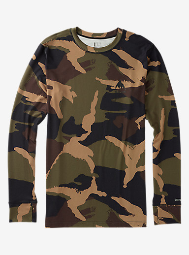 Burton Midweight Base Layer Crew shown in Kelp Derby Camo