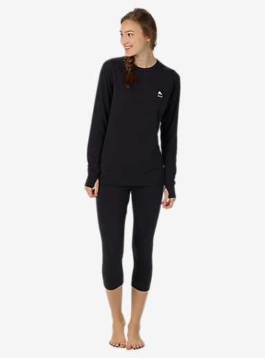 Burton Women's Base Layer Midweight Crew shown in True Black