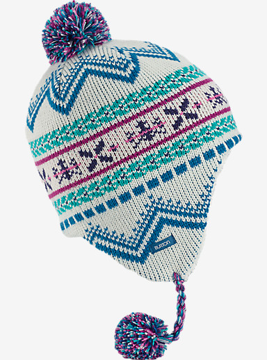 Burton Girls' Cocoa Earflap Beanie shown in Stout White