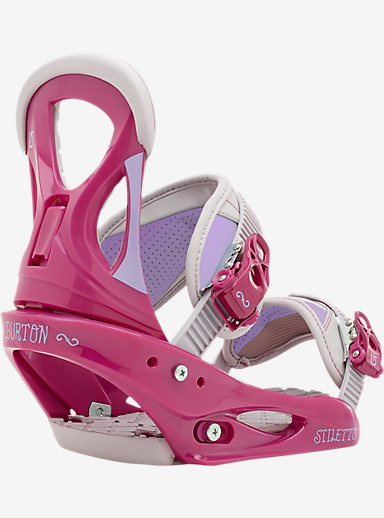 Burton Stiletto Snowboard Binding shown in Pink / Gray