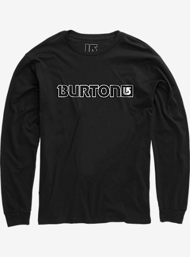 Burton Logo Horizontal Long Sleeve T Shirt shown in True Black
