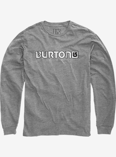 Burton Logo Horizontal Long Sleeve T Shirt shown in Gray Heather