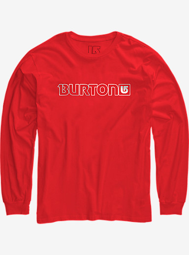 Burton Logo Horizontal Long Sleeve T Shirt shown in Fiery Red
