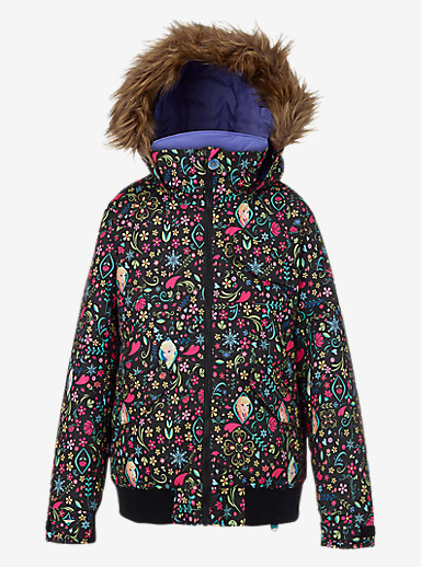 Disney Frozen Girls' Twist Bomber Jacket shown in Elsa & Anna Frozen Print © Disney