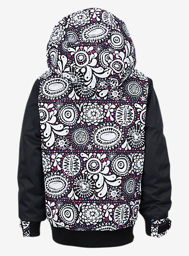 Burton Girls' Minishred Twist Bomber Jacket shown in Sun Doodle / True Black