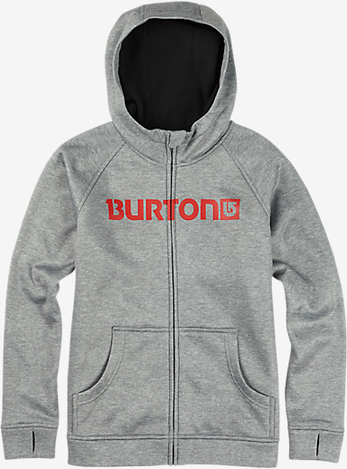 Burton Boys' Bonded Full-Zip Hoodie shown in High Rise Heather