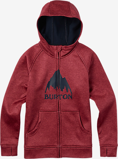 Burton Boys' Bonded Full-Zip Hoodie shown in Brick Red Heather