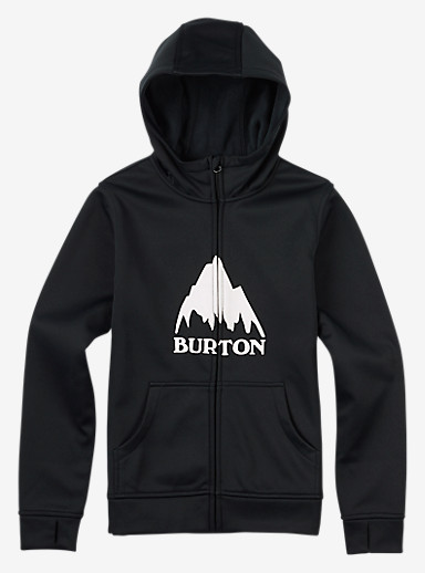 Burton Boys' Bonded Full-Zip Hoodie shown in True Black