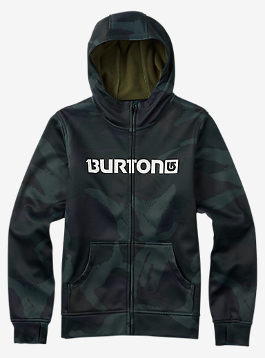 Burton Boys' Bonded Full-Zip Hoodie shown in Beetle Derby Camo