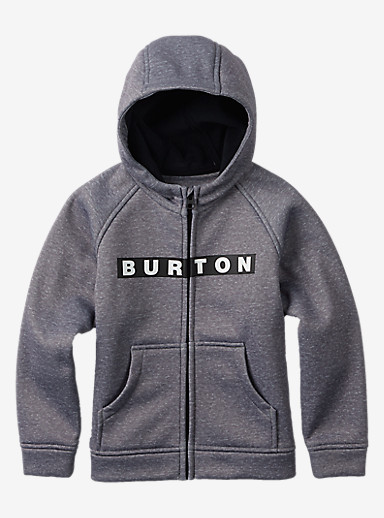 Burton Boys' Mini Bonded Full-Zip Hoodie shown in Monument Heather