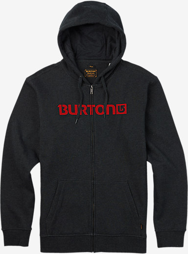 Burton Logo Horizontal Full-Zip Hoodie shown in True Black Heather