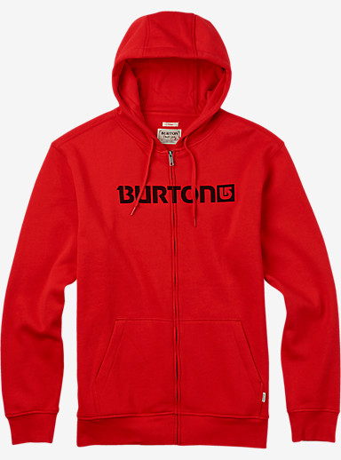 Burton Logo Horizontal Full-Zip Hoodie shown in Fiery Red