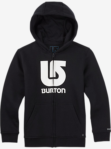 Burton Boys' Logo Vertical Full-Zip Hoodie shown in True Black