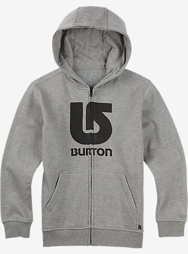 Burton Boys' Logo Vertical Full-Zip Hoodie shown in Gray Heather