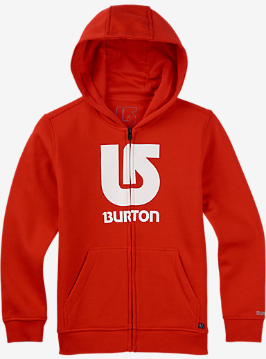 Burton Boys' Logo Vertical Full-Zip Hoodie shown in Fiery Red