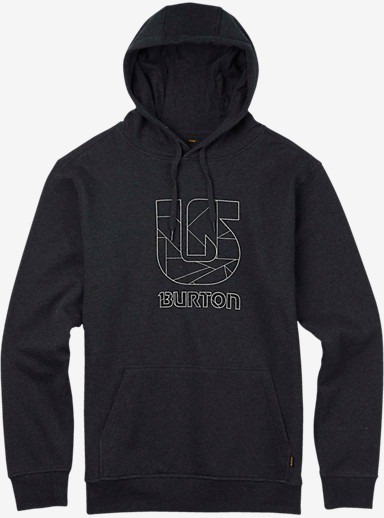 Burton Logo Vertical Fill Pullover Hoodie shown in True Black Heather