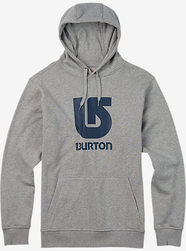 Burton Logo Vertical Fill Pullover Hoodie shown in Gray Heather