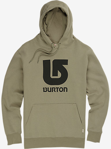 Burton Logo Vertical Fill Pullover Hoodie shown in Light Olive