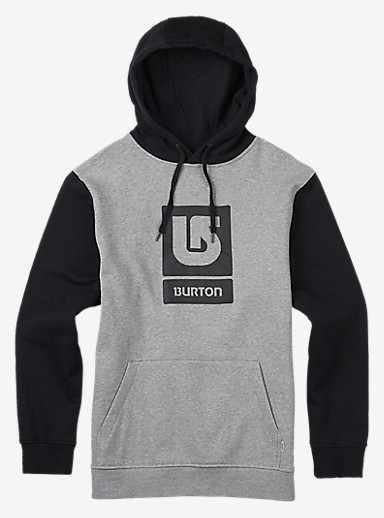 Burton Logo Vertical Fill Pullover Hoodie shown in Gray Heather / True Black