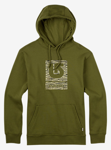 Burton Logo Vertical Fill Pullover Hoodie shown in Olive Branch