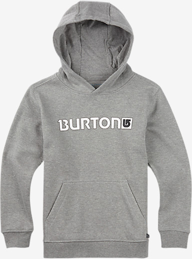 Burton Boys' Logo Horizontal Pullover Hoodie shown in Gray Heather