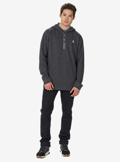 Burton Dexter Hooded Henley shown in True Black Heather