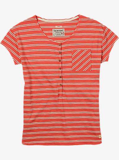 Burton Salvador Short Sleeve Tee shown in Hot Coral Norwich Stripe