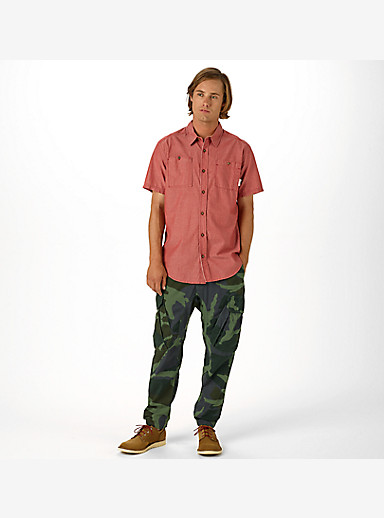 Burton Glade Short Sleeve Shirt shown in Brick Red Chambray