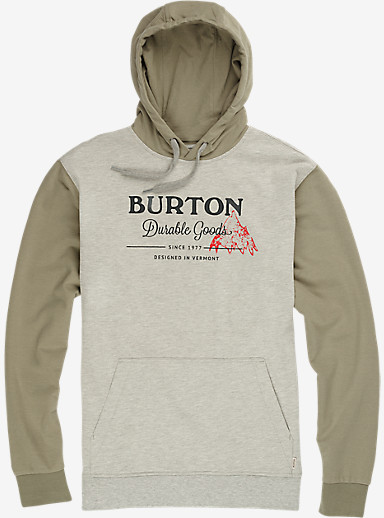 Burton Durable Goods Pullover Hoodie shown in Gray Heather / Light Olive