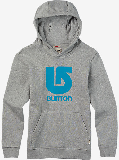 Burton Boys' Logo Vertical Pullover Hoodie shown in Gray Heather