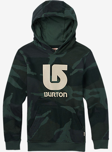 Burton Boys' Logo Vertical Pullover Hoodie shown in Beetle Derby Camo